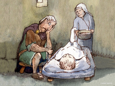 The centurion had a servant who was very ill.  He was paralysed and in great pain. – Slide 2