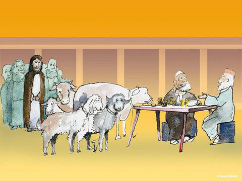 Others were selling cattle, sheep, and doves which were needed for offerings. – Slide 3