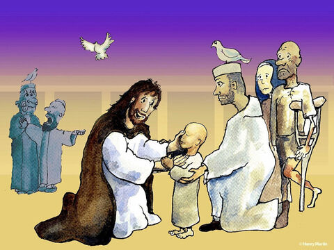 The blind and the lame came to Jesus in the Temple, and He healed them. – Slide 7