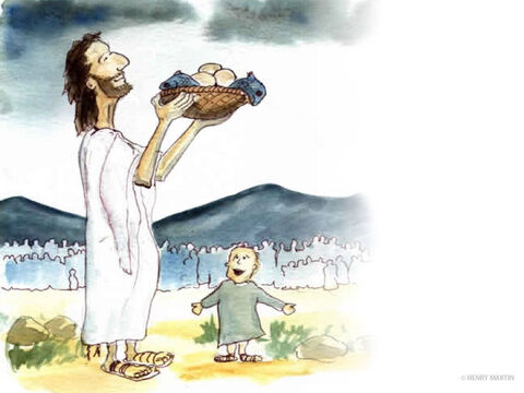 Jesus took the five loaves and two fish. Looking up to heaven, He gave thanks and broke them.  Then He gave the pieces to the disciples to go around and feed the large crowd – at least 5,000 men plus women and children. – Slide 9