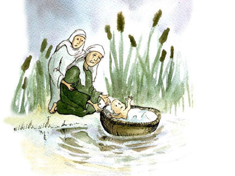 It happened that a baby boy was born to an Israelite family. His mother knew that she had to do something to save him. She made a large basket out of the reeds that grew near the river. She sealed it with sticky tar so that it would float. Then she put the baby in the basket and put it in the river near the bank. His sister, Miriam, stood at a distance and watched over the baby. – Slide 3
