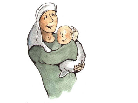 Miriam ran back home and told her mother everything that had happened. Then she took her mother back with her to meet Pharaoh's daughter. 'Take care of the baby and bring him back to me when he is older,' the princess said. The baby's mother was so happy to be reunited with her baby. – Slide 5