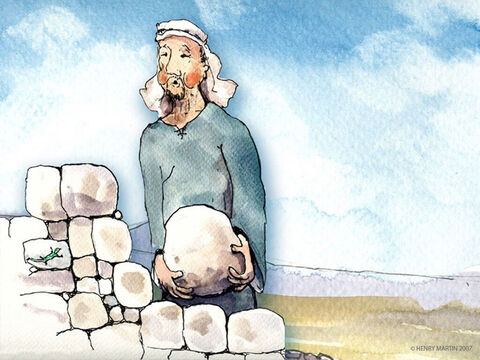'Listen to this story,' Jesus told them. 'There once was a man who planted a vineyard and built a wall around it. – Slide 2