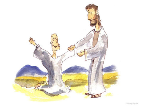 One of them, when he saw he was healed, came back, praising God in a loud voice. He threw himself at Jesus' feet and thanked him. Jesus asked, 'Were not all ten cleansed? Where are the other nine?' – Slide 4