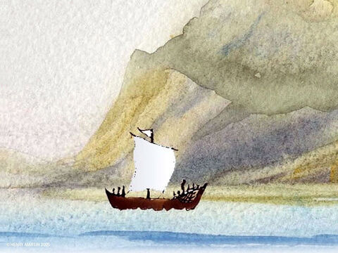Jesus then went up on a mountainside alone to pray while His disciples set sail. By evening, the boat had sailed a great distance from the land. – Slide 2