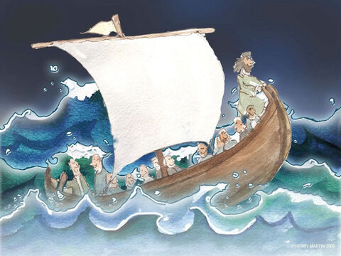 But then the wind began to blow and the sea became very rough. – Slide 4