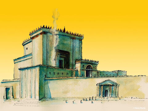 Jesus was in the Temple. There were 13 containers in the temple for people to put their money. – Slide 1