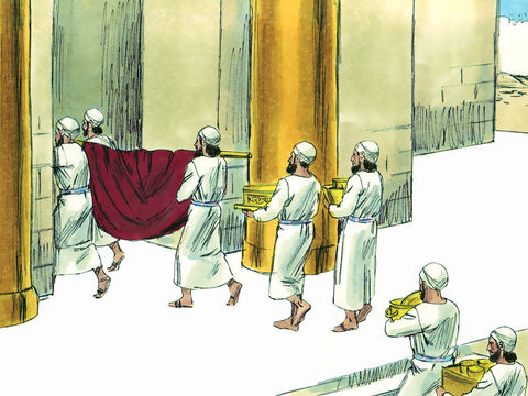 In the first month of his reign Hezekiah opened the temple and repaired the doors. The Levites were told to consecrate themselves to God and then purify the temple. It took them 16 days to remove things that should not be in the temple, clean it up and get the building ready to worship God as He had commanded. – Slide 5