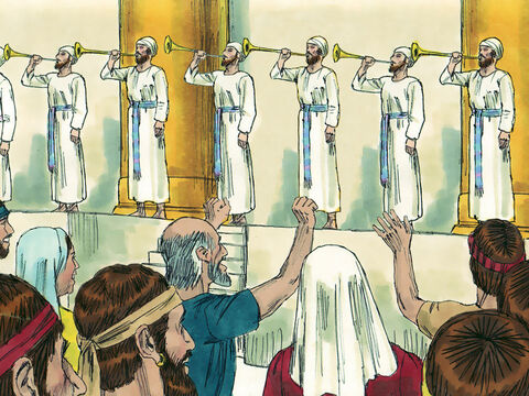 The next day King Hezekiah gathered the city officials together and went up to the temple to offer sacrifices. Levites led the worship playing trumpets, cymbals, harps and lyres, just as they had done in the days of King David. The king and his officials knelt down before God and sang praises. Everyone was happy that the services at the temple had been restored so quickly. Invitations were sent out to Jews in the Northern and Southern Kingdoms to celebrate Passover and a large crowd assembled the next month in Jerusalem. It was a happy occasion and God heard their prayers. People returned home to destroy any other altars that had been made to false gods. – Slide 6