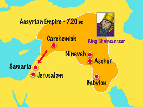 In the 4th year of Hezekiah's reign King Shalmaneser of Assyria invaded the Northern Kingdom of Israel ruled by King Hoshea. God had warned these Jews that unless they stopped worshipping idols and obeyed Him they would become slaves of the Assyrians. – Slide 7