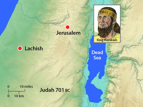 The Assyrians laid siege to the city of Lachish. King Hezekiah knew that Jerusalem would be the next target of this mighty army. He repaired the city walls and prepared for battle. He sent a message to the Assyrians, 'I have done wrong in siding with the Egyptians. I will pay whatever you demand of me to withdraw.' – Slide 10