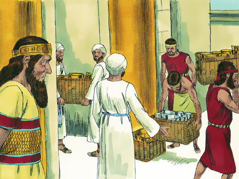The king of Assyria demanded payment of three hundred talents (11 tons) of silver and thirty talents (1 ton) of gold. So Hezekiah gave him all the silver and gold in the treasuries of the royal palace and the temple. – Slide 11