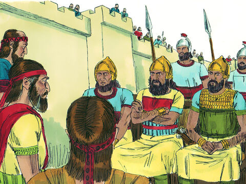 Eliakim son of Hilkiah the palace administrator, Shebna the secretary, and Joah son of Asaph the recorder went out to them. The Assyrians spoke loudly in Hebrew so those on the walls could hear them, 'You say you are ready for war but you speak empty words. On whom are you depending, that you rebel against me?' Hezekiah's men asked them not to speak in Hebrew so that those in Jerusalem could hear them, but the Assyrians refused. – Slide 14