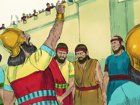 """They shouted, 'The great king of Assyria says, """"Don't let Hezekiah deceive you. He can't deliver you from me. Don't believe him when he tells you that the Lord will rescue you. Has any god been able to stop the Assyrian army?""""' Those listening on the wall remained silent as they had been instructed. Hezekiah's officials returned with their clothes torn in grief, to report back to the king. – Slide 15"""