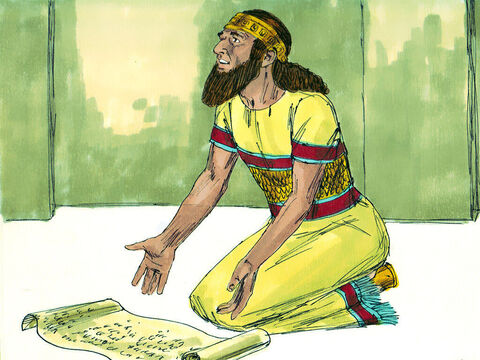 Just as Isaiah had said, King Sennacherib heard the Egyptians were marching to fight him. The arrogant King sent Hezekiah a message which read, 'Do not let the God you rely on deceive you. Did the gods of other nations I have conquered deliver them? When Hezekiah got the message he took it to the temple and spread it out before God. 'Look at the words of Sennacherib who ridicules You Lord,' Hezekiah prayed. 'Deliver us from the Assyrians, so all nations will know that you alone are God!' – Slide 17