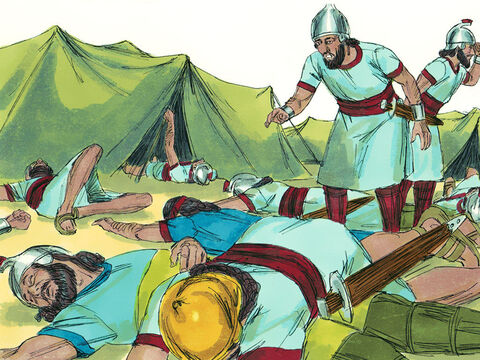 That night the angel of the Lord went through the Assyrian camp and killed 185,000 men. When the people got up the next morning there were dead bodies everywhere. King Sennacherib broke camp and withdrew back to Nineveh. – Slide 20