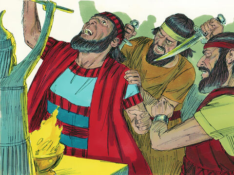 One day, while King Sennacherib was worshipping in the temple of his god Nisrok, his sons Adrammelek and Sharezer assassinated him. King Hezekiah ruled for 29 years serving the Lord and obeyed Him. – Slide 21
