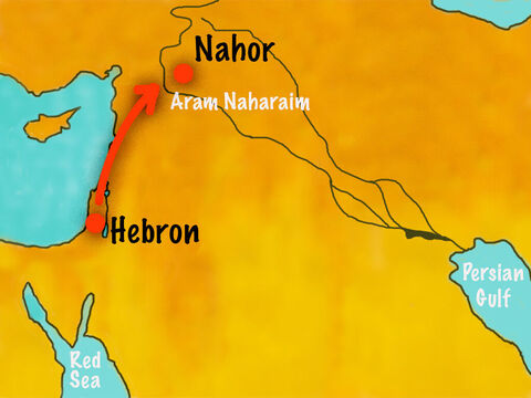 Abraham's chief servant promised to obey. He took with him ten camels loaded with all kinds of gifts from Abraham. He set out for Aram Naharaimand made his way to the town of Nahor. – Slide 6