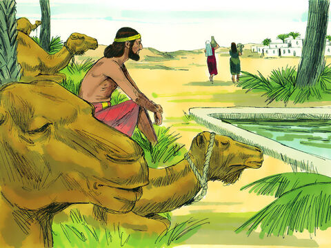 He made the camels kneel down near the well outside the town. It was towards evening, the time the women go out to draw water. – Slide 7