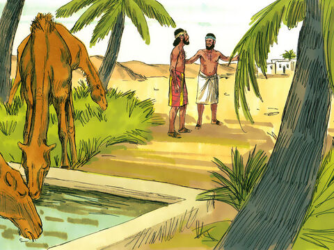 Rebekah ran home and her brother Laban returned to fetch Abraham's servant and the camels. – Slide 12