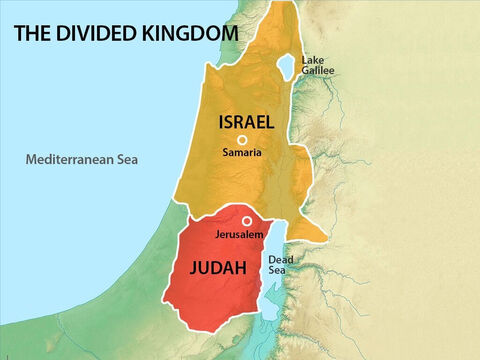 When the Jewish nation split into two kingdoms, the ten tribes of the northern kingdom were known as Israel and the two tribes making up the southern kingdom were known as Judah. – Slide 1