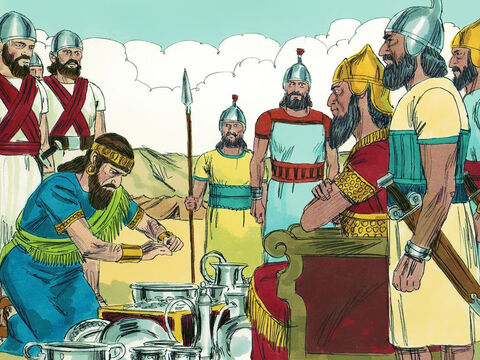 King Manahem choose not to fight the mighty Assyrians but gave them huge amounts of silver with promises to pay them an annual tribute of money. – Slide 5