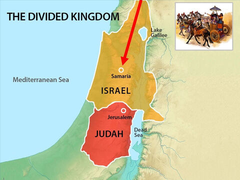 The mighty Assyrian army marched into Israel and besieged the capital city of Samaria for three years. – Slide 11
