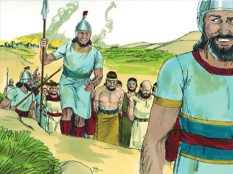 Finally the city surrendered and the inhabitants were captured. They were marched back to Assyria as prisoners and slaves. – Slide 12