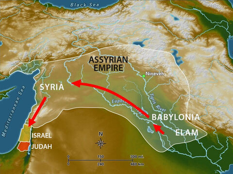 The king of Assyria then forced people from Babylonia and Elam and Syria to go and live in Israel in the towns and cities that had once been the homes of the Israelites. – Slide 13