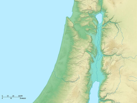 Map of northern Israel showing Lake Galilee and River Jordan flowing south through rift valley. Mediterranean Sea to the west. – Slide 1