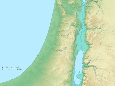 Map of Israel showing Lake Galilee in north and upper region of the Dead Sea in the south. Mediterranean Sea to west. – Slide 2