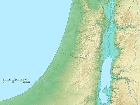 Map of Israel showing Dead Sea in the south and Jordan valley above it. The central mountains and coastal plain are to the west. – Slide 3