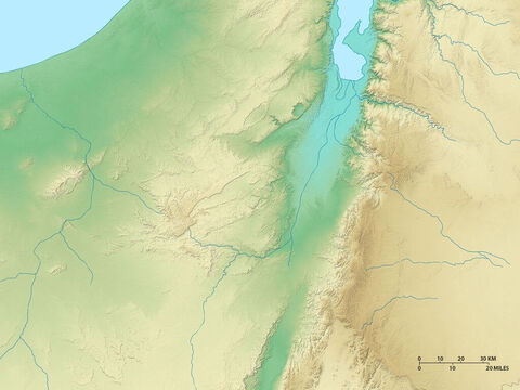 Map of Israel showing the Dead Sea and regions to east, west and south. – Slide 5