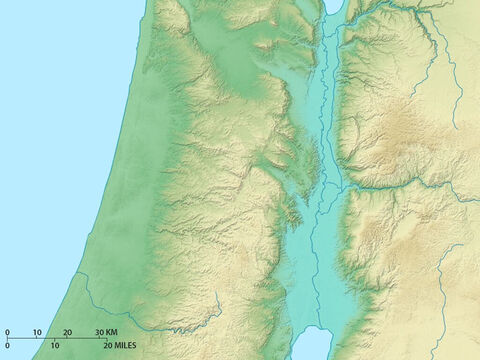 Map of northern regions of Israel showing Lake Galilee, northern Jordan rift valley and valley of Jezreel running west to the coast. Plain of Sharon is to the west. – Slide 8