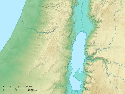 Map of central regions of Israel showing Jordan rift valley, central mountains and coastal plain. – Slide 9