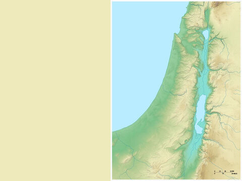 Map of southern Israel showing Dead Sea, Judean hills and coastal plain. – Slide 10