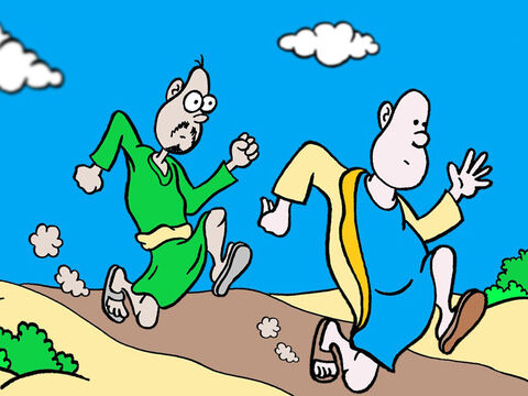 Peter and John sprinted off to the tomb. John got there first. – Slide 6