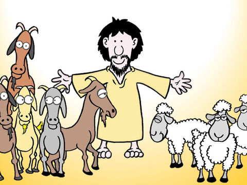 'Before Him will be gathered all the nations, and He will separate people one from another as a shepherd separates the sheep from the goats. And He will place the sheep on His right, but the goats on the left. – Slide 2