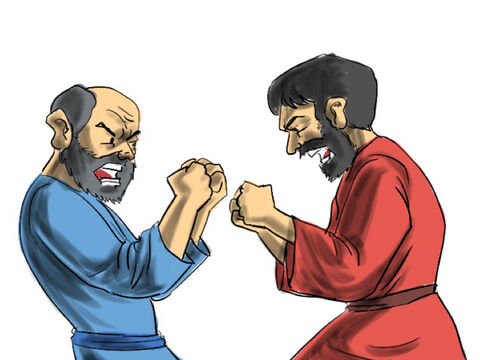 So fights broke out between the herdsmen of Abram and Lot over the use of the pastures. Abram talked it over with Lot. 'This fighting between our men has got to stop. – Slide 2