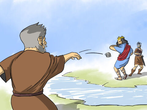 Living in that village was Shimei from the same clan as King Saul's family who held bitter grudges against David. He pelted stones at David and his officials shouting, 'Get out, get out, you murderer, you scoundrel!. God is repaying you for killing Saul's family and Absalom will be king.' – Slide 2