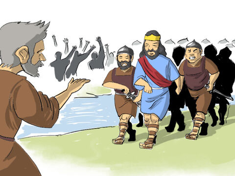 Some time later David's troops put down the rebellion and David was able to return to Jerusalem to continue his reign as king. This was bad news for Shimei who hurried down to the Jordan valley with the men of Judah to meet King David. Shimei crossed the Jordan and fell prostrate before the king. – Slide 4