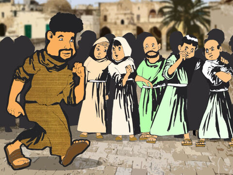 It was a time when the good news of Jesus was spreading in Jerusalem, Judea and Samaria. Many were becoming Christians and Peter went about encouraging them. One day he went to visit the Christians who lived in Lydda. – Slide 1