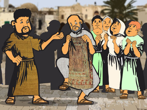 Then the whole population of Lydda and Sharon turned to the Lord when they saw Aeneas walking around. – Slide 4