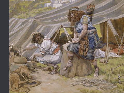 The mess of pottage. <br/>(Full size). <br/>James Tissot (1836-1902) – The Jewish Museum, New York. – Slide 3