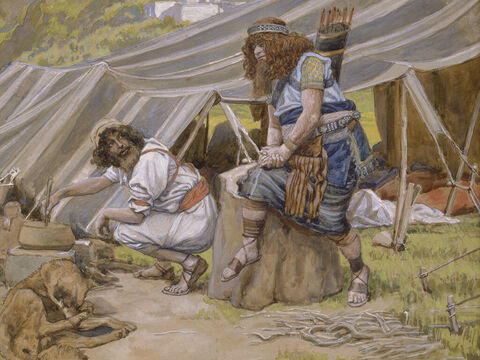 The mess of pottage. <br/>(Cropped). <br/>James Tissot (1836-1902) – The Jewish Museum, New York. – Slide 4