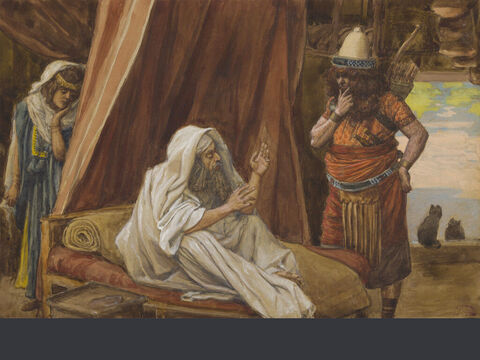 Isaac sends Esau to hunt. <br/>(Full size). <br/>James Tissot (1836-1902) – The Jewish Museum, New York. – Slide 5