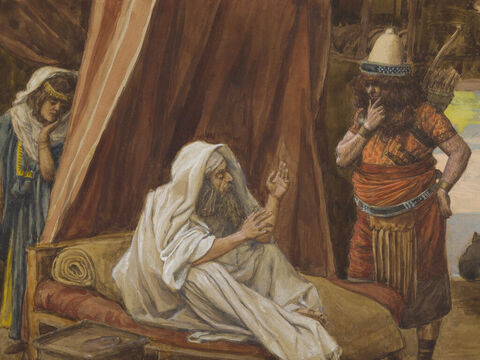 Isaac sends Esau to hunt. <br/>(Cropped). <br/>James Tissot (1836-1902) – The Jewish Museum, New York. – Slide 6