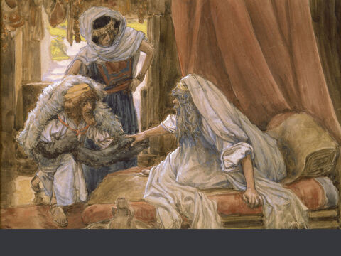 Jacob deceives Isaac. <br/>(Full size). <br/>James Tissot (1836-1902) – The Jewish Museum, New York. – Slide 7