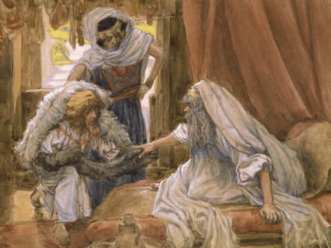 Jacob deceives Isaac. <br/>(Cropped). <br/>James Tissot (1836-1902) – The Jewish Museum, New York. – Slide 8