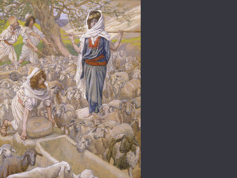 Jacob and Rachel at the well. <br/>(Full size). <br/>James Tissot (1836-1902) – The Jewish Museum, New York. – Slide 11